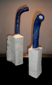 pair of 2 ft tall abstract ceramic Canada geese